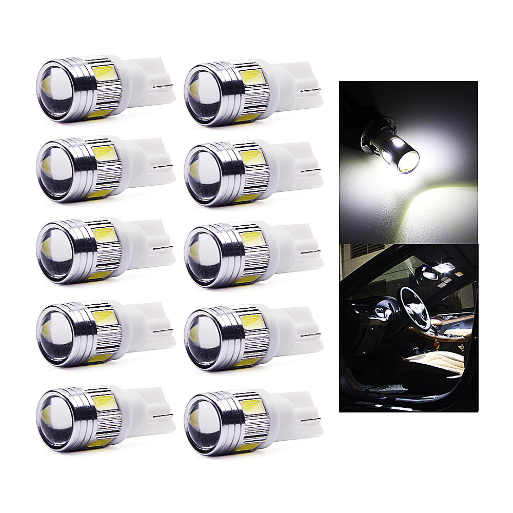 цена на 10Pcs T10 Led W5W 168 194 SMD 5630 T10 w5w Wedge Lights Side Bulb For Auto Led Car Tail light Side Parking Dome Door Map lights