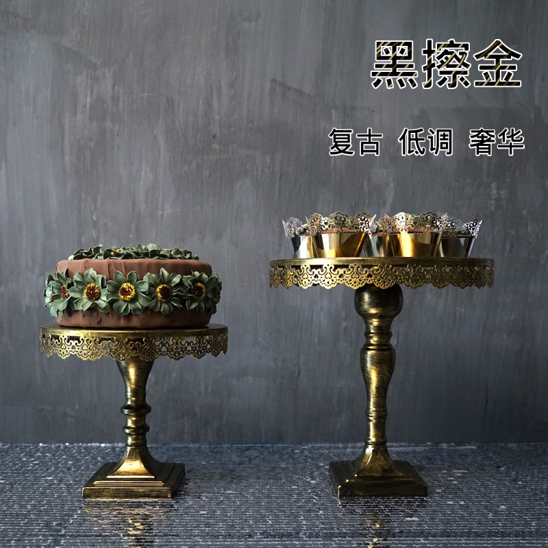 Gold cake stand wedding props vintage cake pan fashion plate dessert high pallet