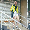 2017 new women's high-end European and American models fall short paragraph Slim PU leather jacket fluorescent colors Tartrazine