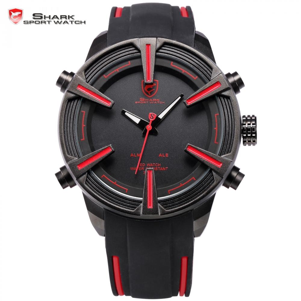 Prix pour Aiguillat shark sport montre automatique date led affichage noir rouge bracelet en silicone bande numérique militaire hommes de quartz montre-bracelet/sh384
