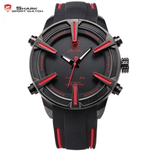 Dogfish Shark Sport Watch Auto Date LED Display Black Red Silicone Strap Band Digital Military Men's Quartz Wristwatch / SH384