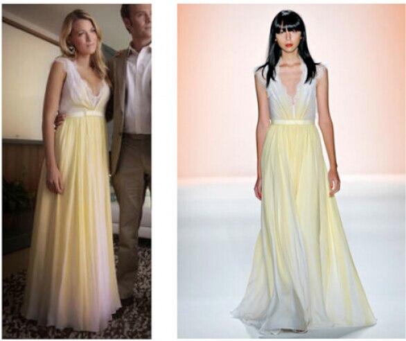 sexy inspiriert Blake Lively( Serena) gelb chiffon spitze ...