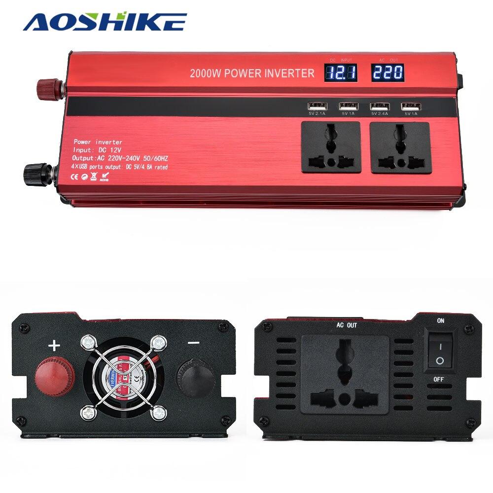 Aoshike 2000W Car LED Inverter 12V 24V To 220v Converter 4 USB Ports Charger Veicular Car