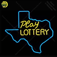 Neon Sign for texas play lottery Neon Bulb sign Beer Restaurant handcraft Glass tube windows GAME ROOM Club light Decor lamps