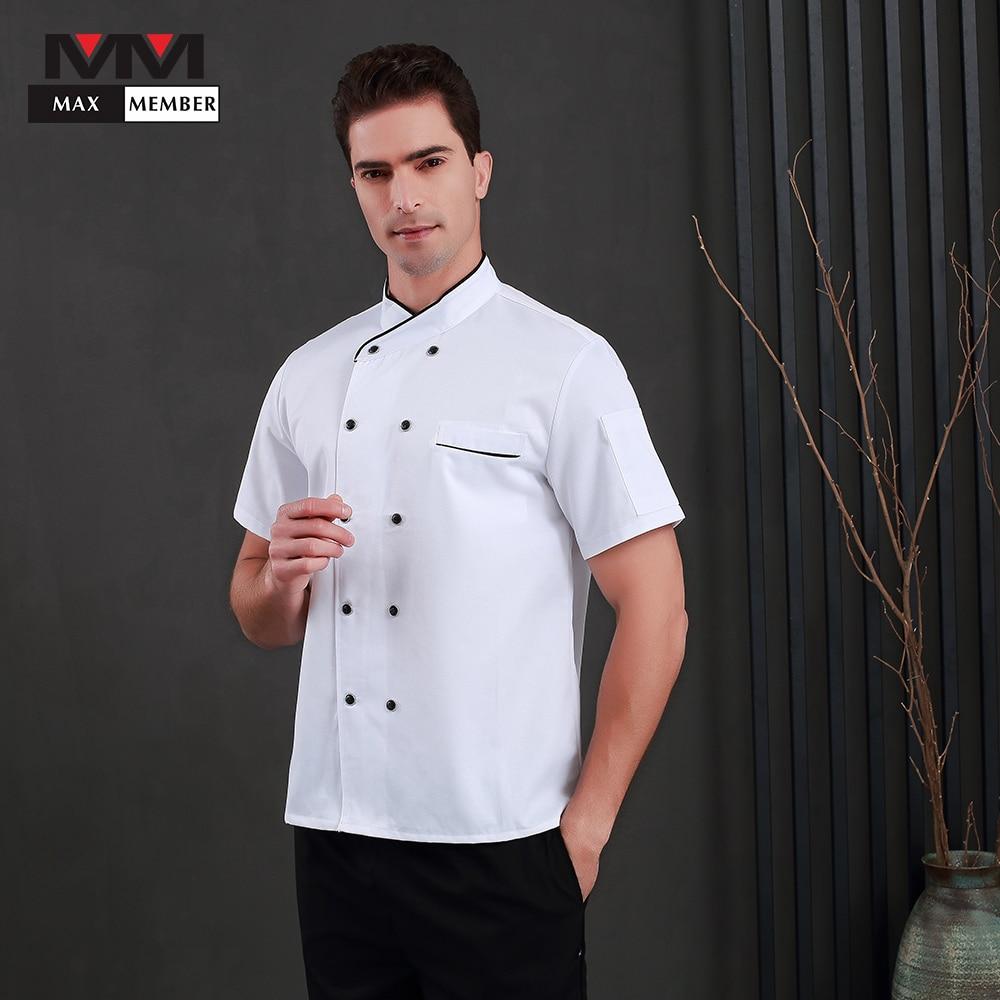 2019 New Unisex Kitchen Cooker Chef Uniforms Food Service Short Sleeve Chef Uniforms Chef Jacket Work Wear Uniform Clothing