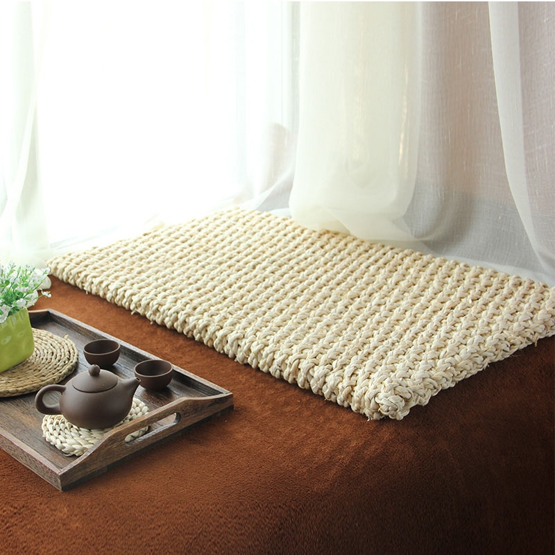 modern rustic rectangular floor cushion beige natural straw mat meditation futon tatami cushion tea table carpet chinese futon   furniture shop  rh   ekonomikmobilyacarsisi