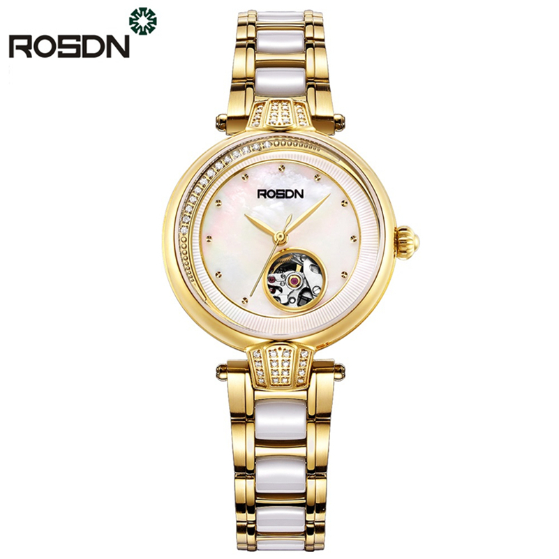 ROSDN Women Watches Luxury Crystal Sapphire Ladies Ceramic Band Automatic Watch Waterproof Wristwatches with Bracelet gift set