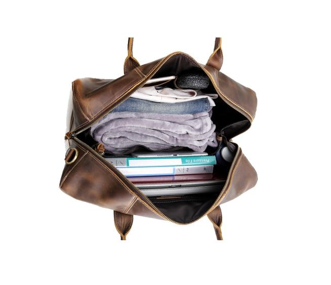 Vintage Genuine Leather Men Briefcase Large Capacity Business Trip Shoulder Bag High Quality Work Bags Travel Laptop Bag Z705