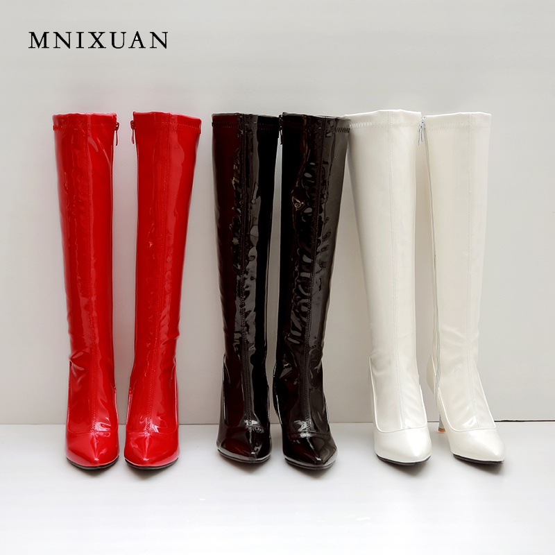 MNIXUAN High quality women shoes knee-high boots red 2018 winter new sexy patent leather pointed toe zipper high heels size40 42 цена 2017