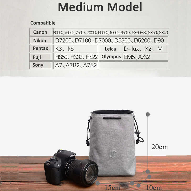 Height Chaomin SLR Camera Lens Package Thickening Shockproof Neoprene Lens Storage Bag Sticky Deduction 130mm Reliable Diameter 90mm