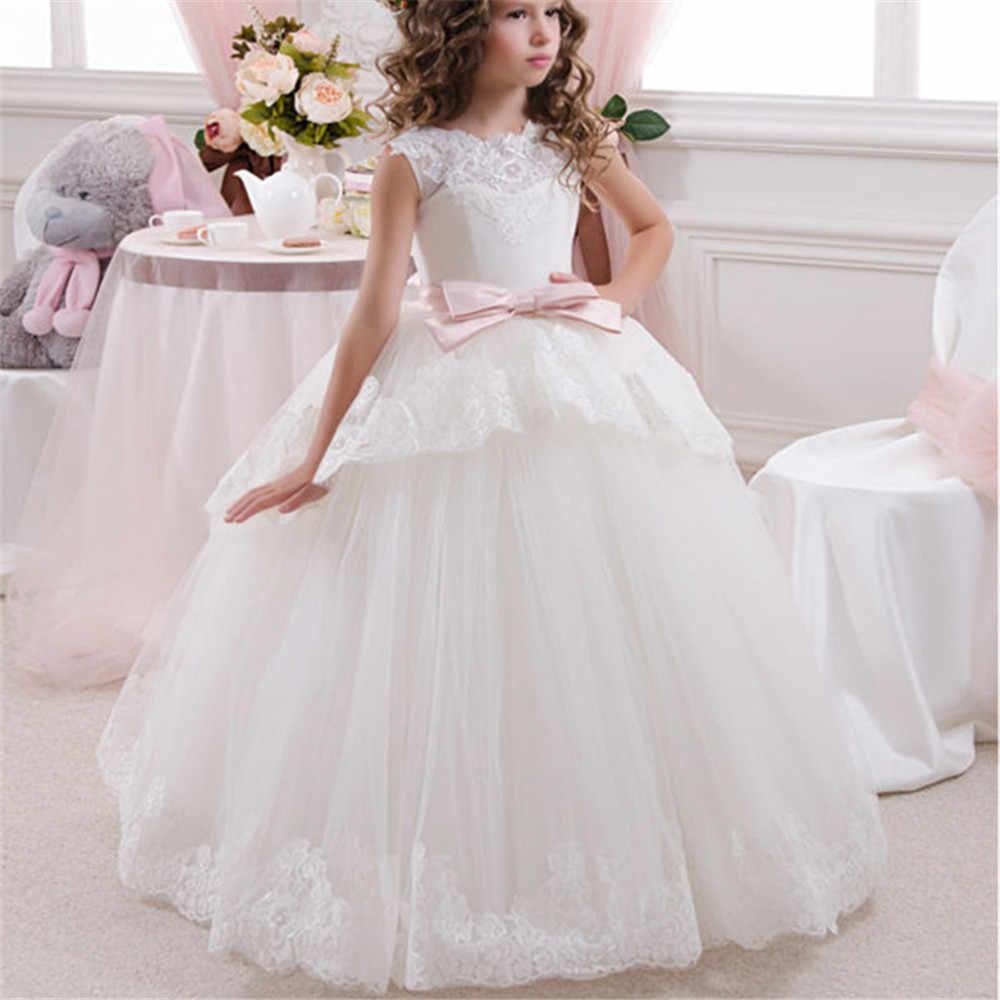 f8cf534fde10f72 Платье принцессы для девочек с цветочным рисунком Лето 2019 Туту Свадьба  День рождения Нарядные платья для