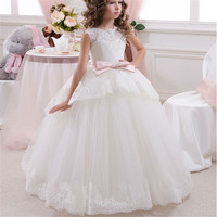 Princess Flower Girl Dress For Wedding Party High Quality Bridesmaid Kids Bow Sleeveless Trailing Lace Tulle