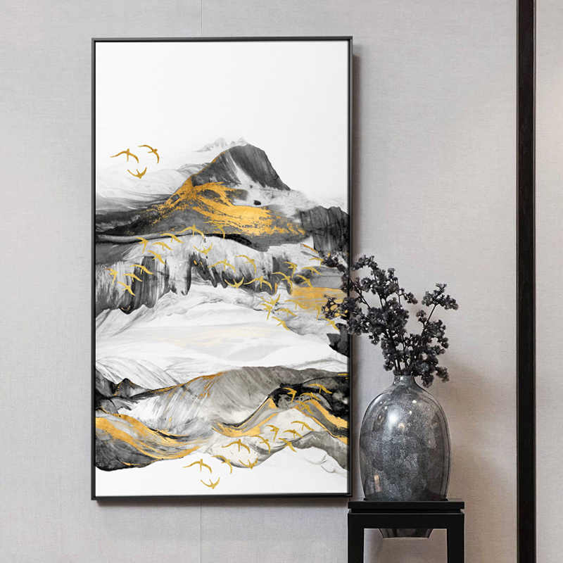 New Chinese Style Foggy Mountain Forest Lanscape Canvas Painting Poster And Print Wall Art Pictures For Living Room Home Decor