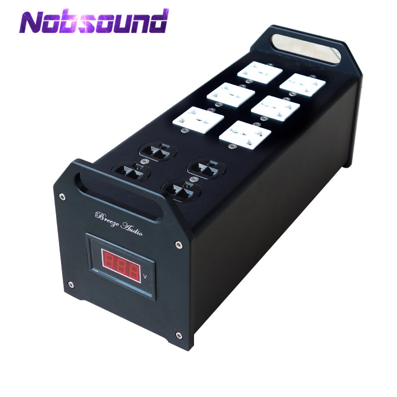 Nobsound Hi-end Audio Noise Power Filter AC line-conditioner Power Purifier Universal Sockets Full Aluminum Chassis high end audio noise filter ac power conditioner power filter power purifier with eu outlets