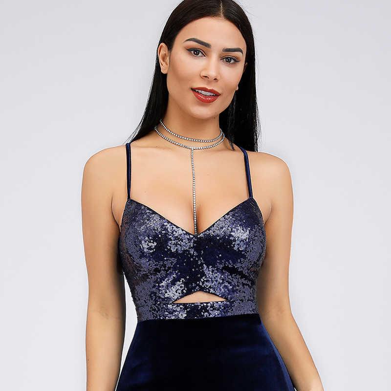 Vestidos de Noite de cetim Longo Já Bastante EP07863 Lantejoulas Sexy Profundo Decote Em V Oco Out Backless Ocasião Formal Do Partido Vestidos de 2019