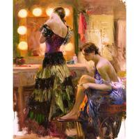 Canvas wall pictures pop art Almost Ready women oil painting Pino Daeni framed landscape modern home decor
