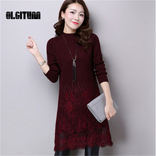 OLGITUM 2017 women's spring autumn hot sale  long sleeve lace patchwork  women knit o-neck sweater dresses pullover sweaters