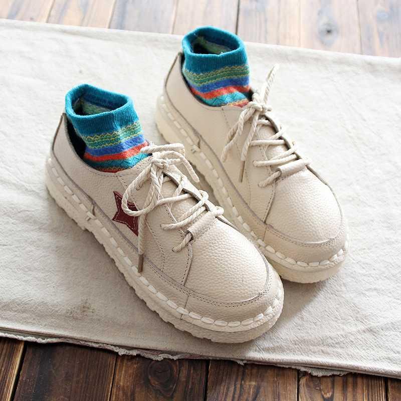 Careaymade/тонкие туфли из натуральной кожи; сезон весна; Новинка; женские оригинальные низкие туфли ручной работы; художественная обувь в стиле ретро; mori girl на плоской подошве