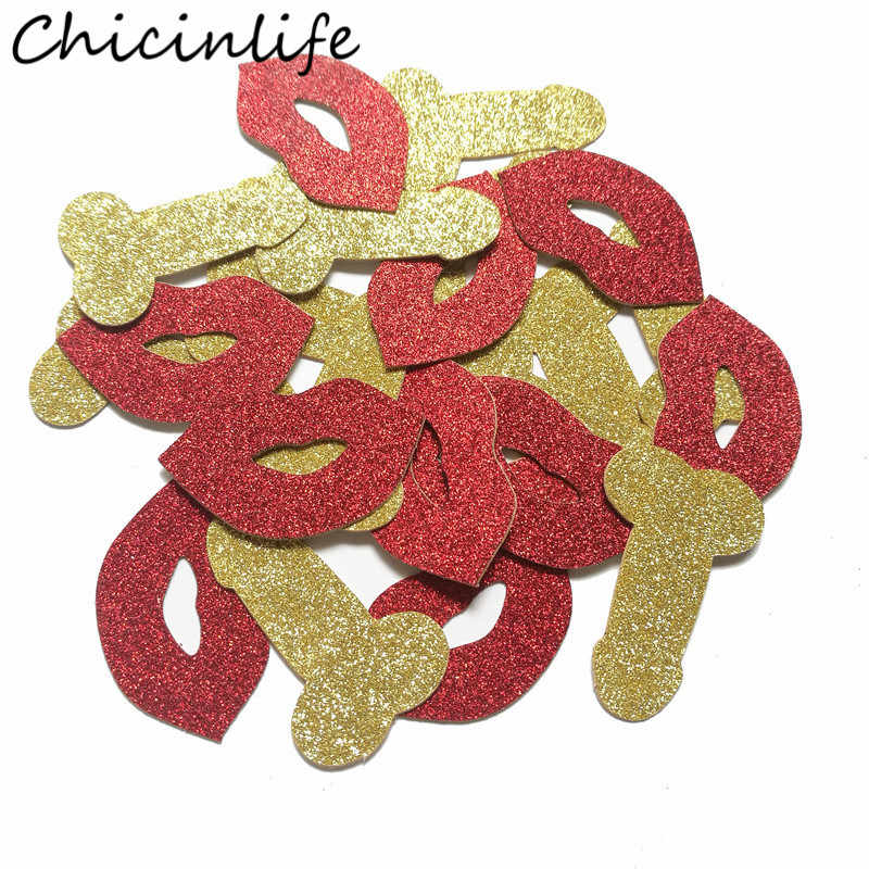 Chicinlife 50Pcs Willy Penis Lips Confetti Bachelorette Party Decor Bridal Shower Wedding Hen Night Party Table Scatter Supplies