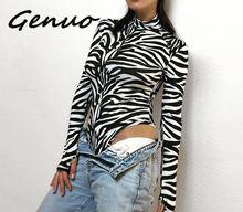 Genuo New Zebra Print Turtleneck Bodysuit Bodycon Long Sleeve Women Black White Cotton Body Womens Skinny Jumpsuits