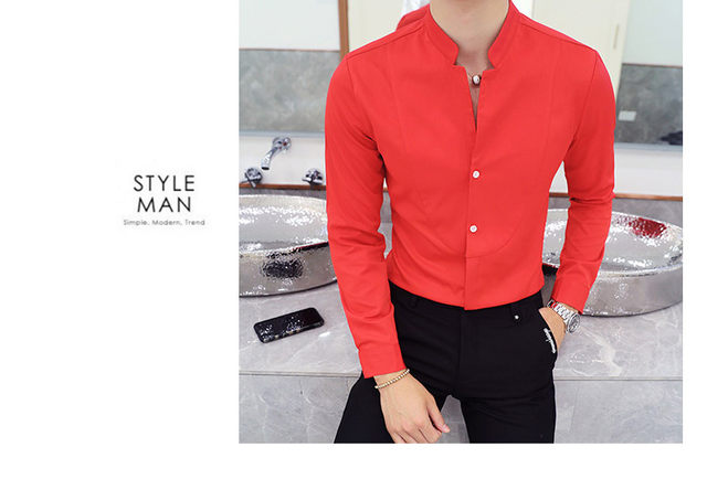 Fall Winter Stand Collar Mens Long-sleeved Dress Shirts Black Red White Slim Elegant Youth Male Business Wedding Formal Shirt 21