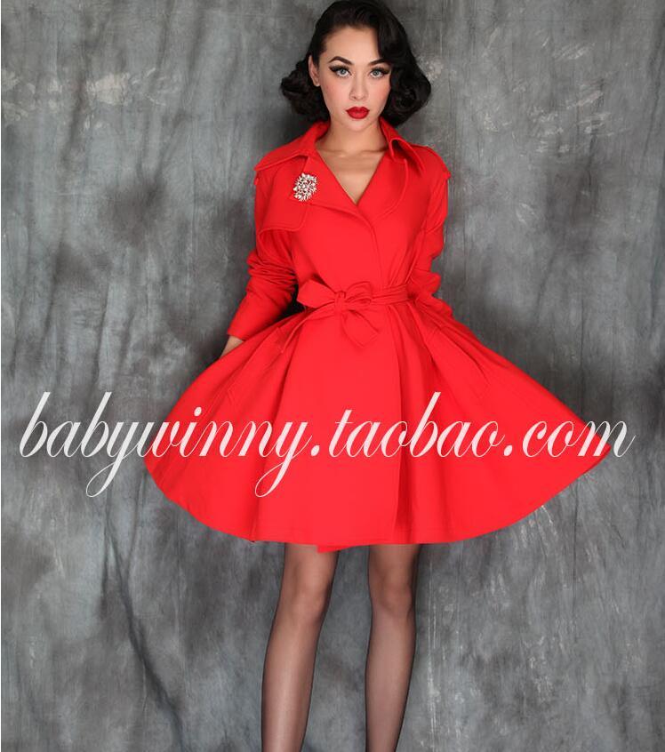 Élégant haut de la rue haut de la page Orange rouge lâche mode tempérament robe Vintage