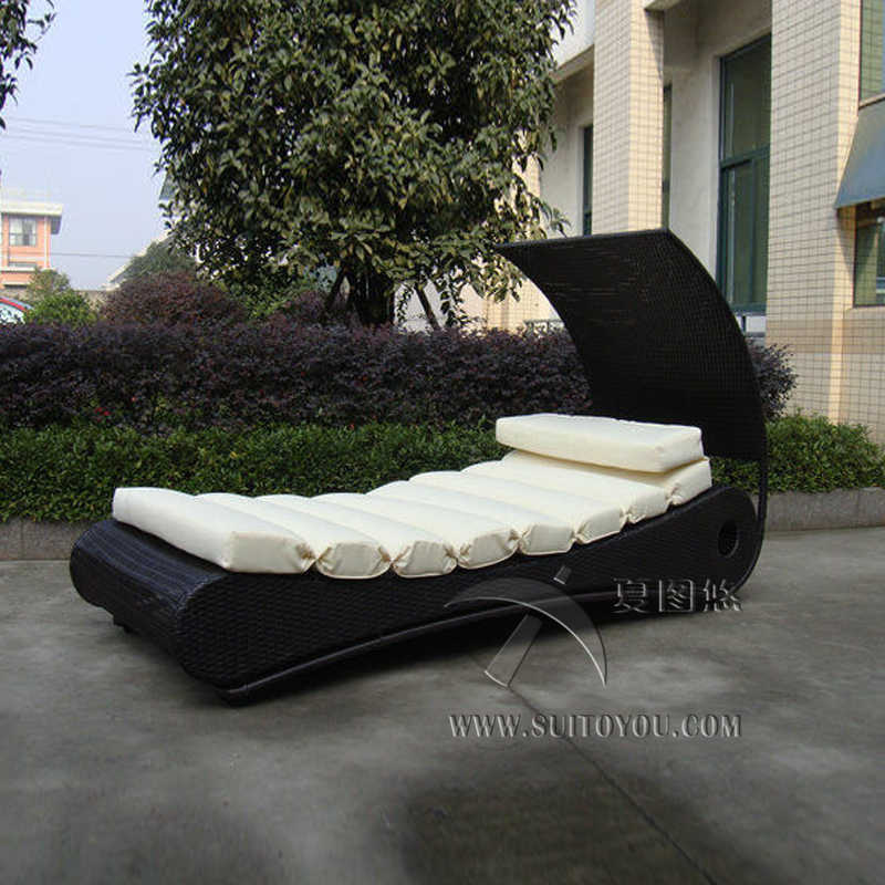 1f6ffaf3f87 Detail Feedback Questions about Comfortable Roofed Black Rattan Sun Lounger  With White Cushion to sea port by sea on Aliexpress.com