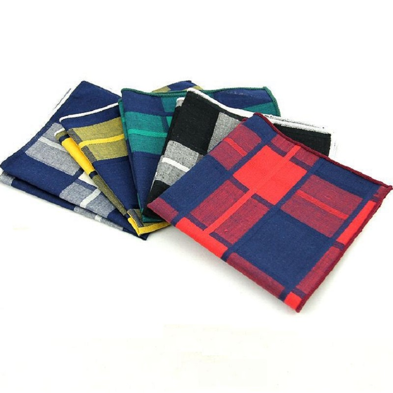 Cotton Handkerchief For Men Plaid Pocket Square Hanky Men's Pocket Towels Print Suit Accessories Square Towel 100pcs/lot