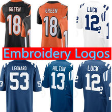 Top sales 53 Darius Leonard JERSEY 12 Andrew Luck 13 T.Y. Hilton 18 A.J.  Green stitched Logos JERSEYS dca183e87