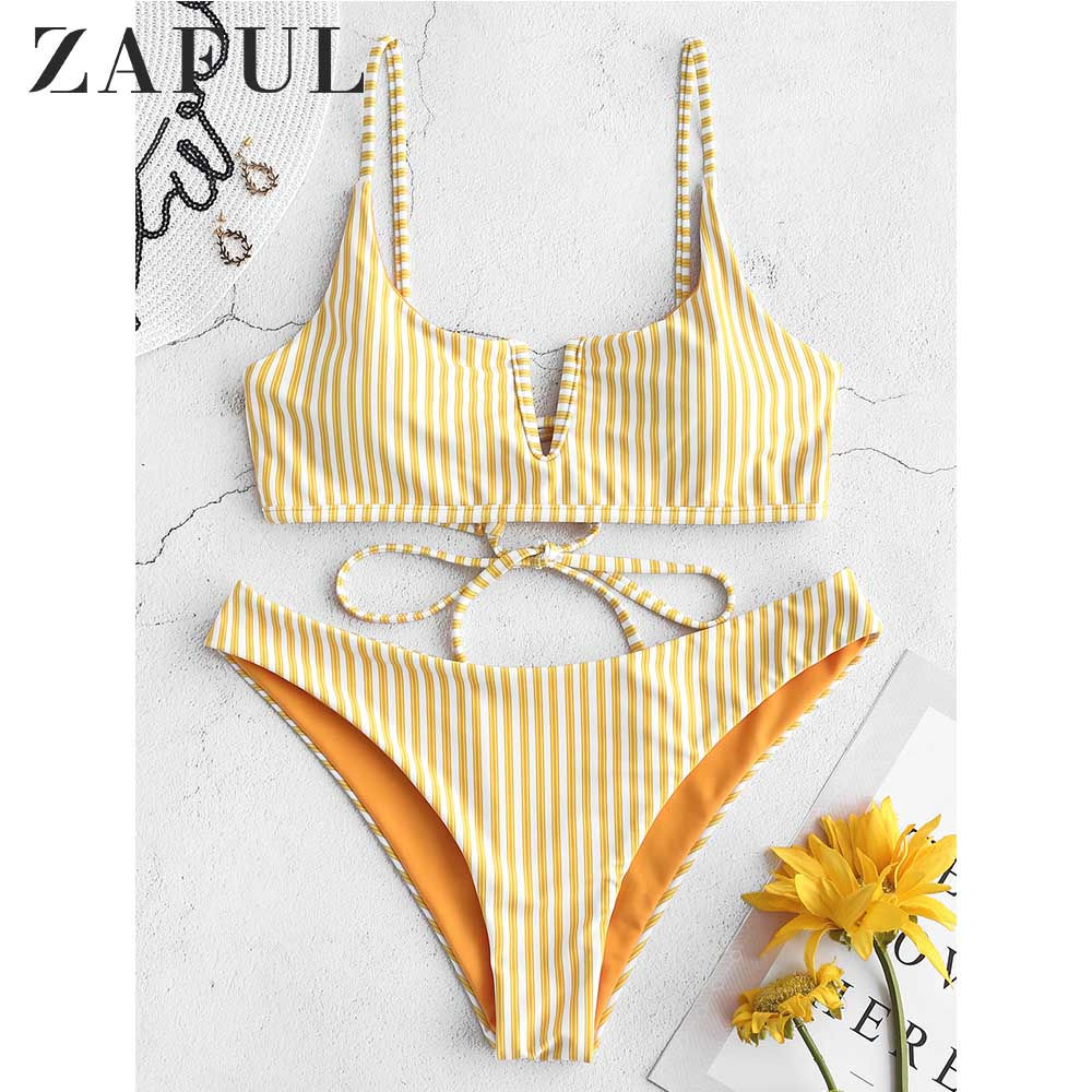 ZAFUL Bikini Reversible Swimwear Women V-Wired Tie Striped Bikini Set Spaghetti Straps Striped Swim Suit Lace Up Bathing Suit