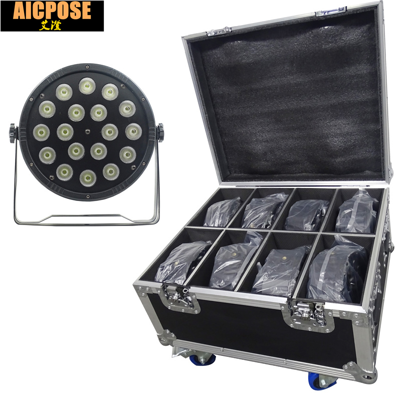 8units 18x12W led Par lights RGBW 4in1 flat par led with Flight case dmx512 disco lights professional stage dj equipment 2pcs lot rgbw 4in1 18x12w led par full color disco lights dmx512 par led professional dj equipment dye with power in power out