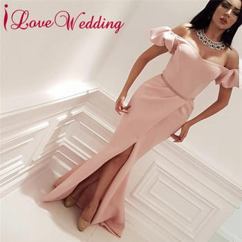 iLoveWedding 2018 Pink Prom Dresses Boat Neck Short Sleeves Custom made Mermaid Long Prom Gown Party Dresses