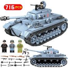 Technik военный конструктор наборы совместимы Legoed WW2 Пособия по немецкому языку танковая армия город солдат полиции оружие строительные блоки игрушки для мальчиков