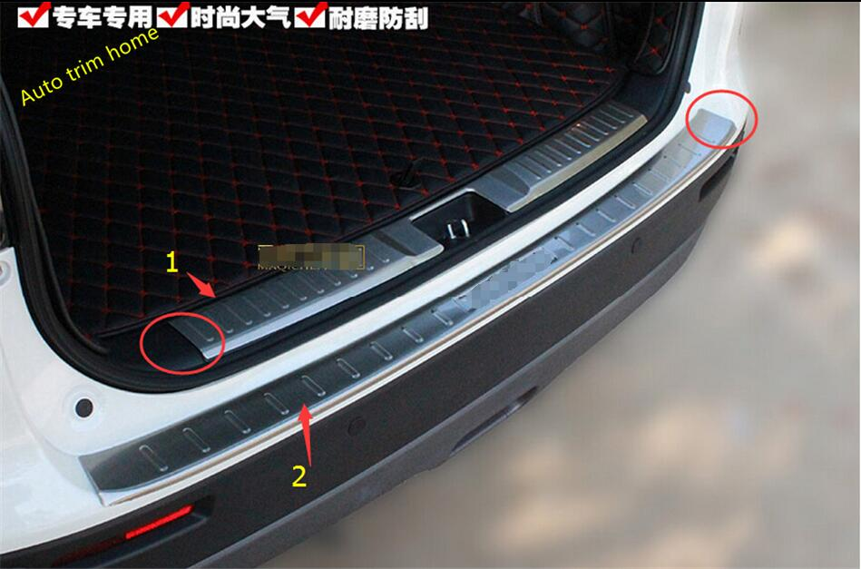 For Suzuki Vitara 2015 2016 2017 2018 Stainless Steel Inner + outer Rear Bumper Protector Sill Cover Plate Trim 2 pcs / set for nissan qashqai j11 2014 2015 2016 stainless steel rear outer inner bumper protector door sill plate molding garnish 2 pcs