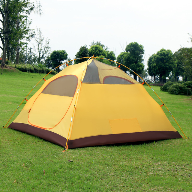 Family Camping Tunnel Tent 3-4 Persons Double-deck Outdoor Waterproof Traveling by car with a bedroom and a living room