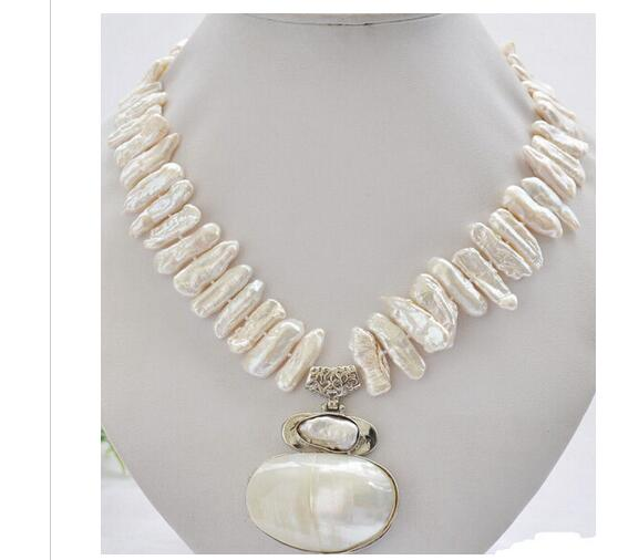 Women Gift Freshwater Jewelry Natural Big 17 25mm white biwa dens freshwater pearl necklace mabe pendant