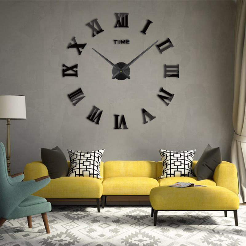 3D Wall Clock DIY Acrylic Mirror Wall Stickers 2019 New Modern Style Luxury Home Decor Large Roman Quartz Clocks