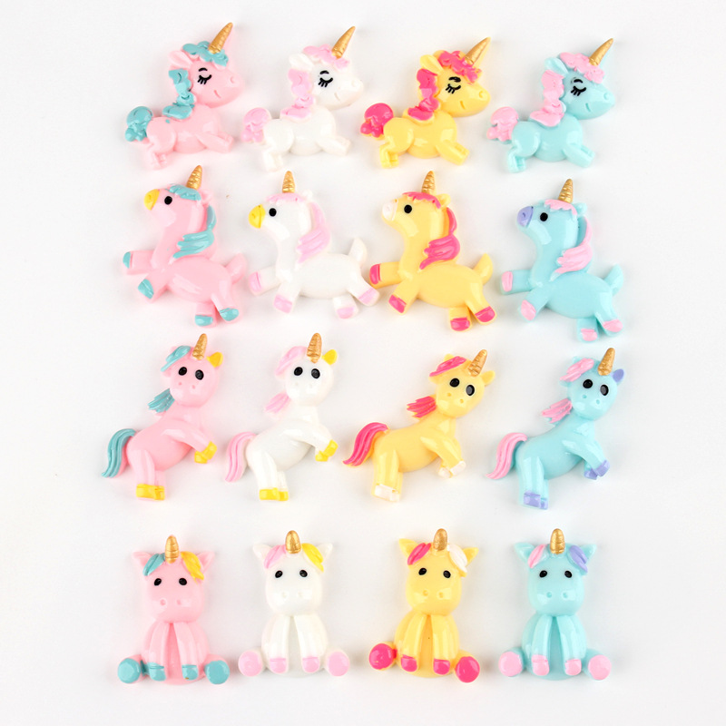 10pcs lot Resin unicorn Decoration Crafts Kawaii Flatback Cabochon Embellishments For Scrapbooking DIY AccessoriesButto in Modeling Clay from Toys Hobbies