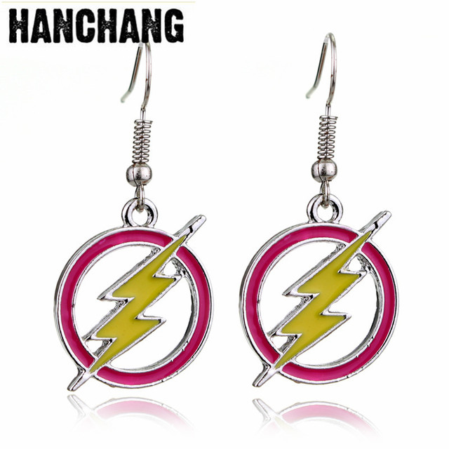 Movie Dc Comics Series The Flash Drop Earrings Metal Enameled Lightning Hoop Circle Superhero Dangle