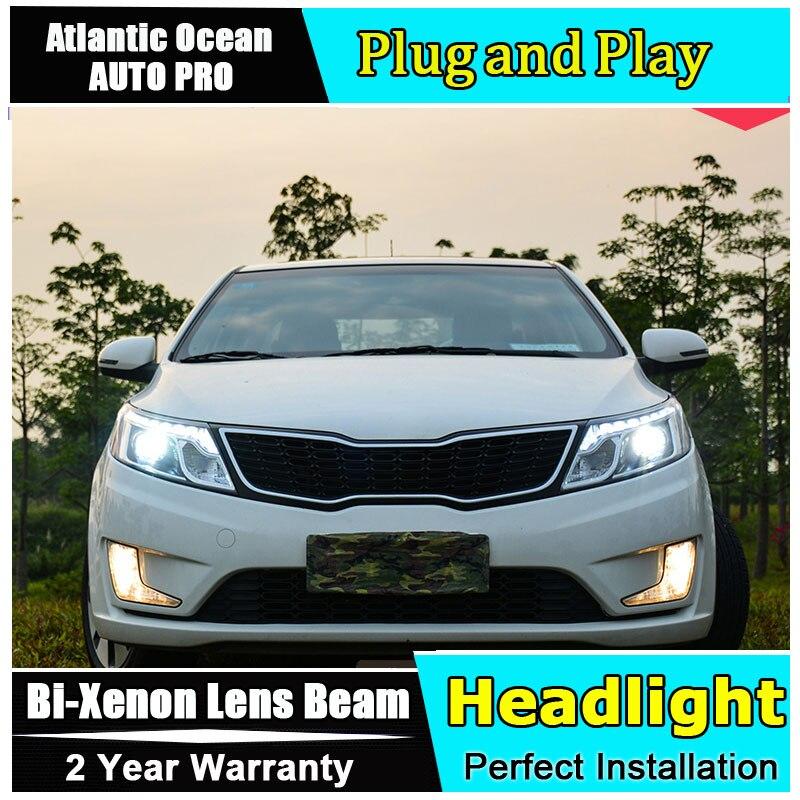 car styling For KIA K2 headlights 2011-2013 For KIA K2 Bi-xenon Double lens HID KIT