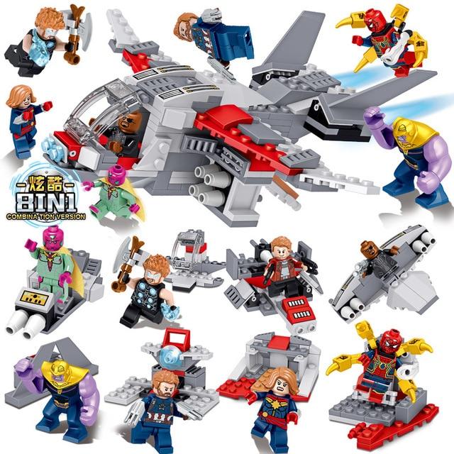 8 pc/lote 8in1 blocos de construção de brinquedo das Crianças presentes de aniversário de Thanos maravilha Superhero Spiderman figuras Bricks Compatíveis
