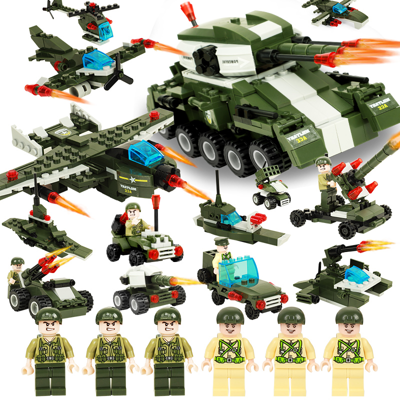 6 in 1 Military Block Toys Assembled Weapon Vehicle Warship Tank /Fighter Plastic building blocks toys Compatible with Legoed