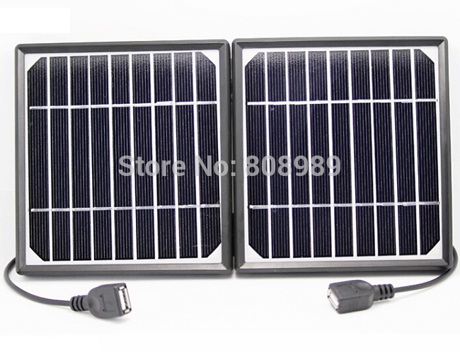 5W Solar Charger for Mobile Phones+Dual USB Mono Solar Panel Solar battery Charger power station High Quality Free Shipping