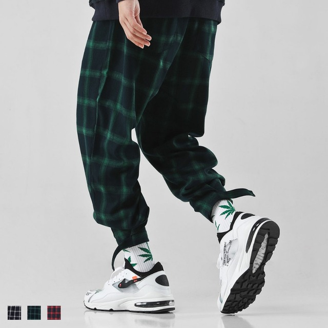 Hip hop slacks loose plaid pants western style casual men's pants high street Relaxed Tapered Jean fashion teenager trousers