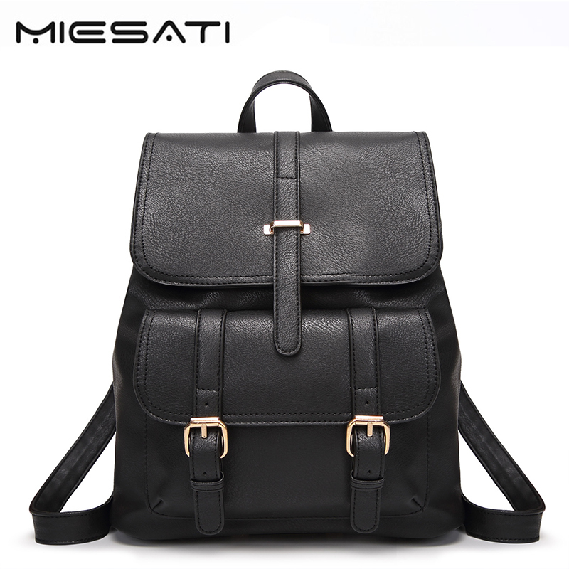 MIESATI Soft Leather Backpack Women Fashion Travel Bag PU Backpack For Girls School Student Teenage Ladies Feminine Backpack dy0606 ladies bag 15inch women backpack suit for 14 15 notebook laptop bag student school bag travel mountaineering bag
