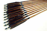 12PK Japan Traditional Gray Feathers Self Nock Bamboo Arrows For YUMI Bow