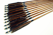12PK Japan Traditional Gray Feathers Self Nock Bamboo Arrows For YUMI Bow YMGBT2