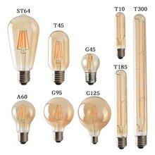 2 Вт/3 Вт/4 Вт E27 светодиодный свет лампы 220 V-240 V ST64 T300 G95 T10 T45 G125 T185 A60 Ретро Эдисон прозрачная янтарная крышка светодиодный нити Стекло лампа