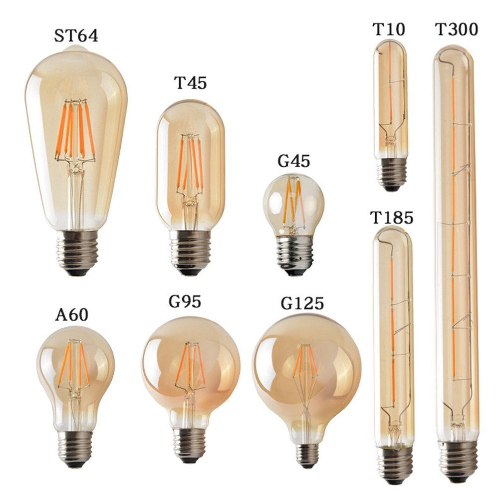 2W/3W/4W E27 LED Light Bulb 220V-240V ST64 T300 G95 T10 T45 G125 T185 A60 Retro Edison Clear Amber Cover LED Filament Glass Lamp