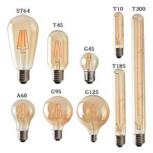 2W/3W/4W E27 LED Light Bulb 220V-240V ST64 T300 G95 T10 T45 G125 T185 A60 Retro Edison Clear Amber Cover LED Filament Glass Lamp(China)